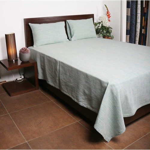 Cotton Green Slub Ribbed Bedcover with 2 Pillow Cover