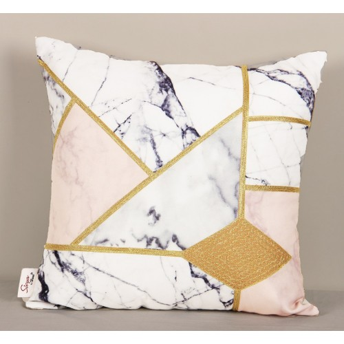 Ari Embroidery Cushion Cover with Marble Printed - 16X16 Inch