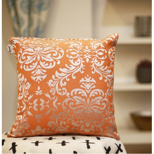 Cotton Jacquard Cushion Cover - Orange