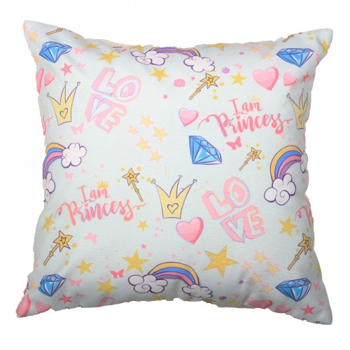 "Digital Printed Polyduck Cute Cushion Cover 16X16"" Inch (Light Blue)."