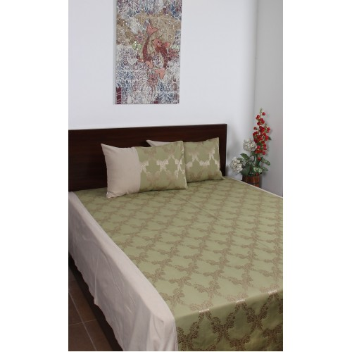 Green Double Damask Bed Cover