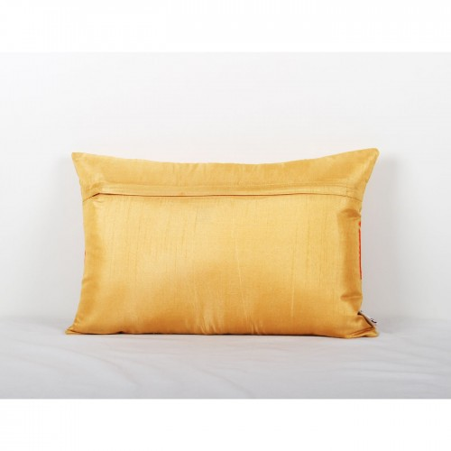 Dupion Cushion Cover with Embroidery Gold -12 x 18 inch