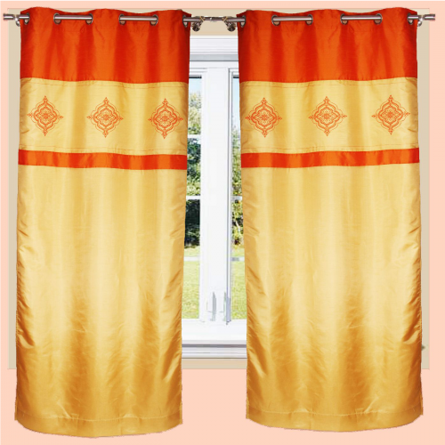 Dupion Ullas Curtains  (Door/ Window) - Gold