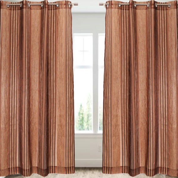 Brown Stripe Sheer/Net Curtain