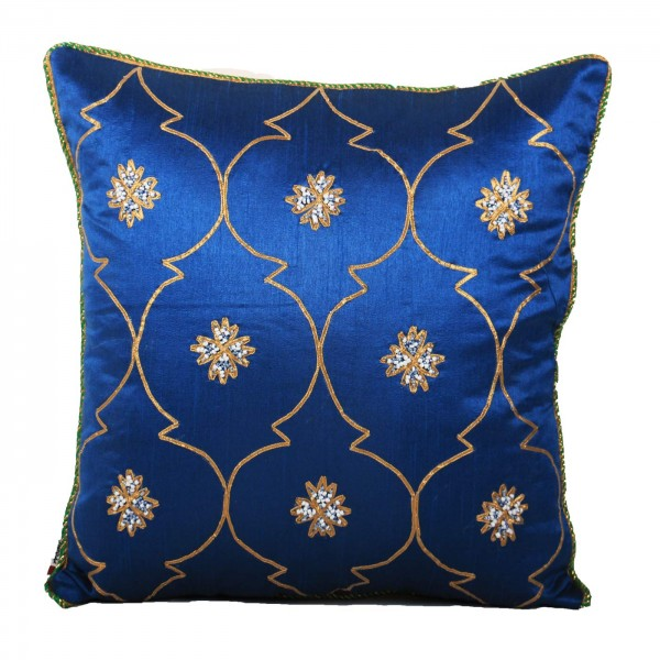 Blue Dupion Cushion Cover with Sequence Work Cushion Cover 16x16 inch