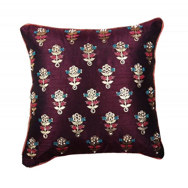 Violet Dupion Cushion Cover with Sequence Work 16x16 inch