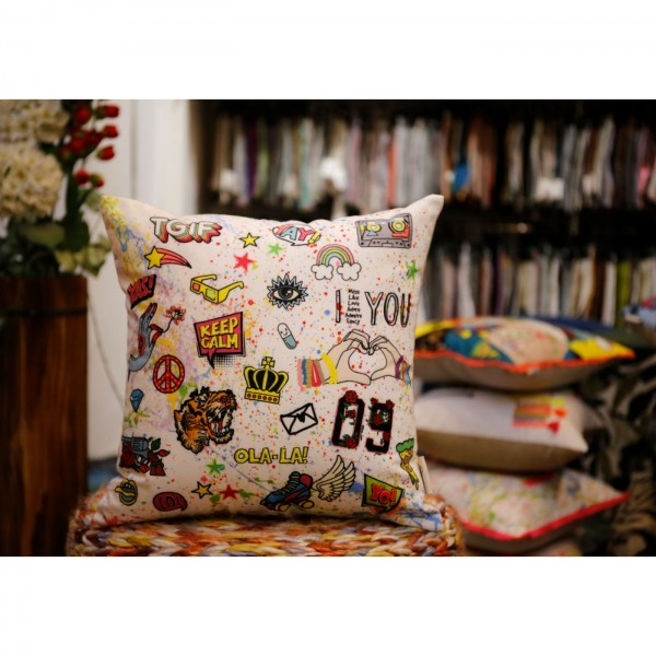 16X16 Inch Printed Cushion Cover (Offwhite).