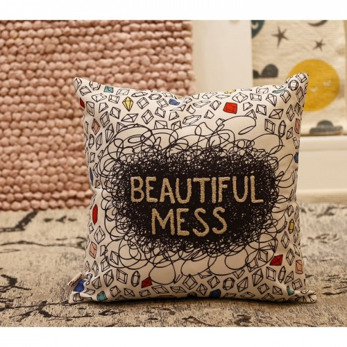 Multi Color Embroidered Quote 16x16 inch Cushion Cover
